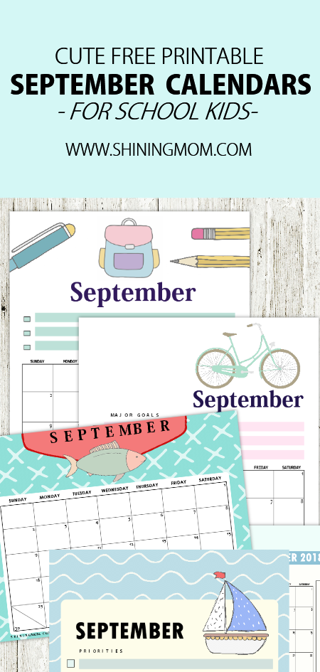 free printable September calendar for school kids