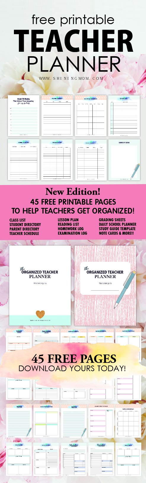 image relating to Free Printable Teacher Planner identified as Free of charge Printable Trainer Planner: 45+ University Preparing Templates!