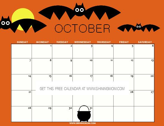 free Halloween 2018 calendar