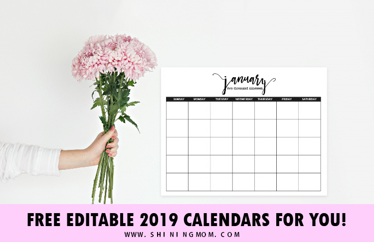 editable 2019 calendar template in Microsoft Word