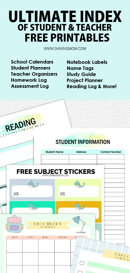 student and teacher printables