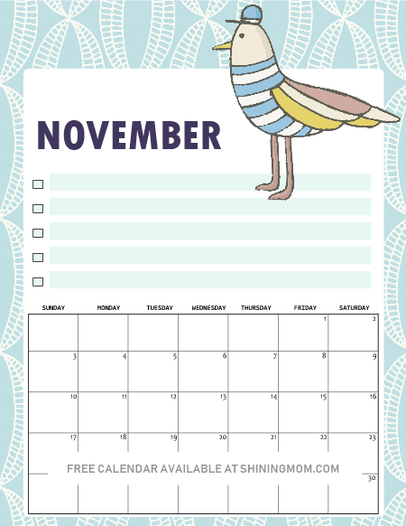 Free 2019 Calendar Printable In Cute And Happy Print