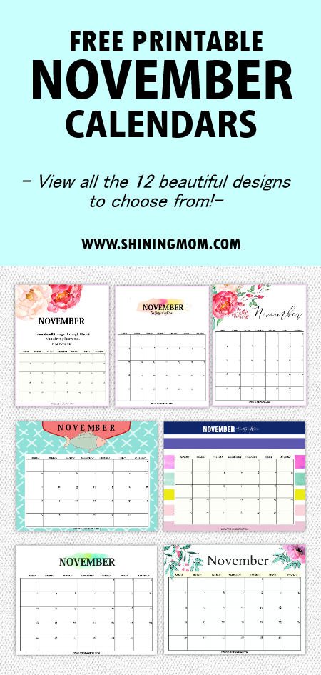 graphic about Free Printable Nov Calendar identified as 12 Absolutely free Printable November 2018 Calendar and Planners!