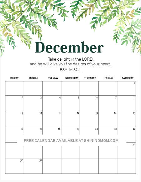 Free Horizontal December 2019 Calendar 14 FREE Printable December 2018 Calendar and Planners!