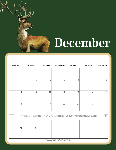 free printable December calendar in Christmas theme