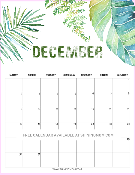 14 Free Printable December 2018 Calendar And Planners