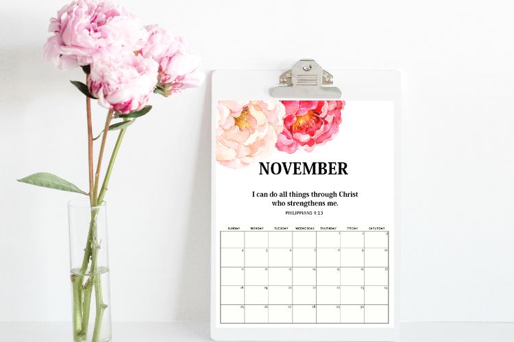 Free Printable November 2018 Calendar: 12 Awesome Designs!