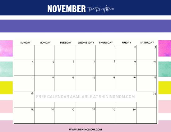 free printable November 2018 calendar colorful