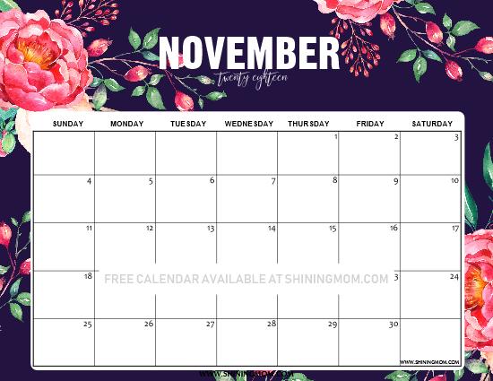 12 free printable november 2018 calendar and planners