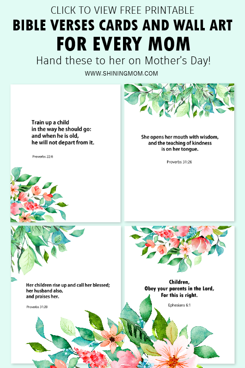 Mother's Day wall art and cards with Bible verses