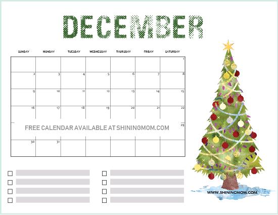 Festive 2019 December Calendar 14 FREE Printable December 2018 Calendar and Planners!