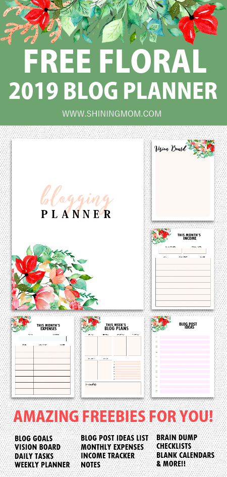 FREE Printable 2019 Monthly Calendar and Planner in Florals!