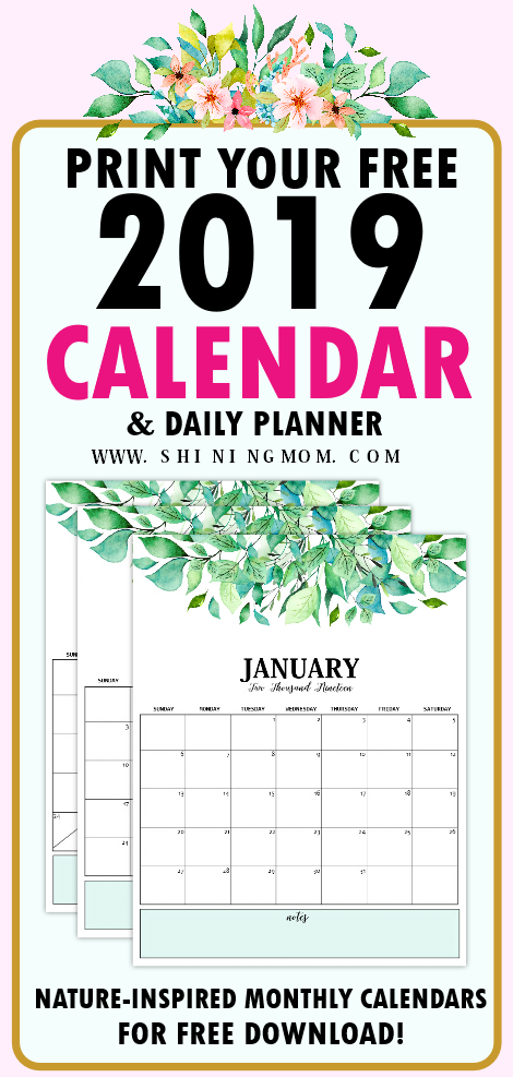 2019 calendar and daily planner free printables