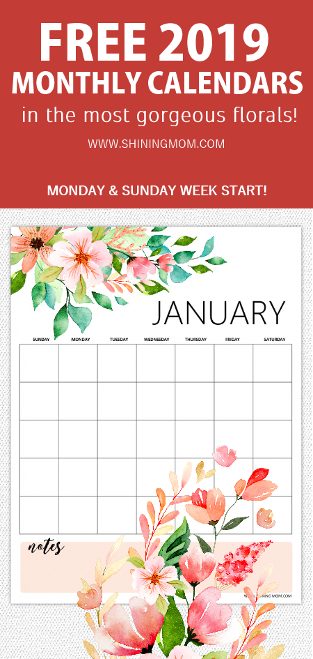 Free Printable 2019 Monthly Calendar And Planner In Florals