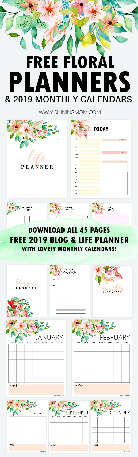 photograph relating to Printable Life Planner identify Cost-free Printable 2019 Every month Calendar and Planner within Florals!