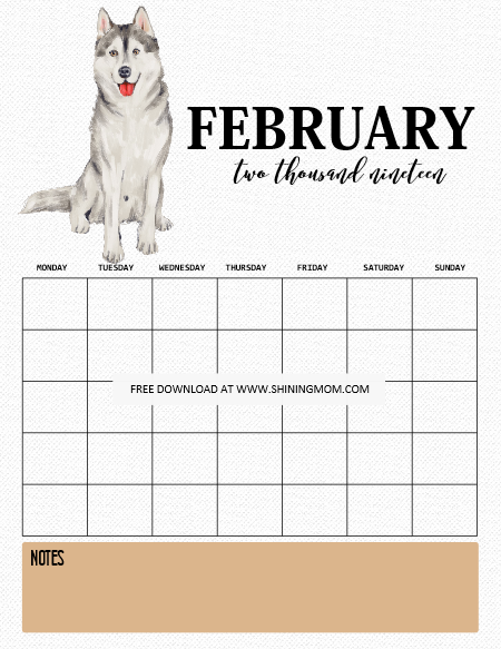 February 2019 Calendars Dog 2019 Calendar and Life Planner Free Printables: 45 Pages!