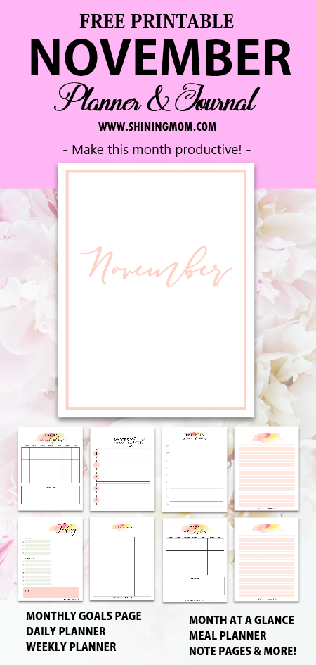 November planner and journal free printable