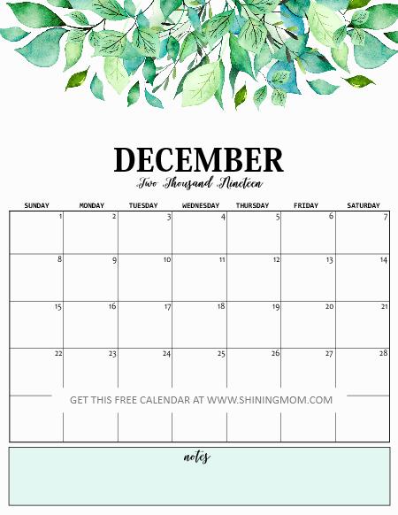 December 2019 calendar