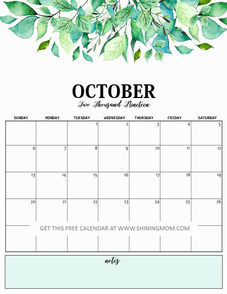 October 2019 calendar