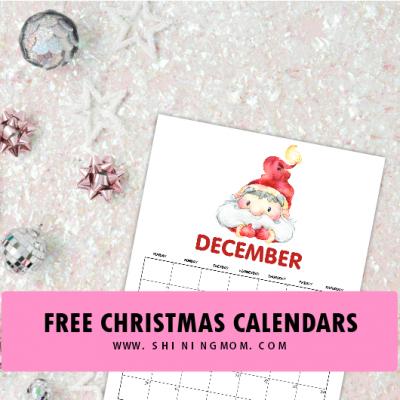 FREE Christmas-Themed December Printable Calendars!