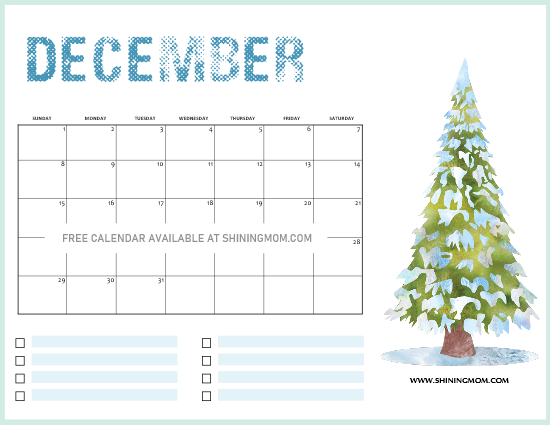 Free Printable Christmas Calendar 2020 5 FREE Christmas Themed December Printable Calendar