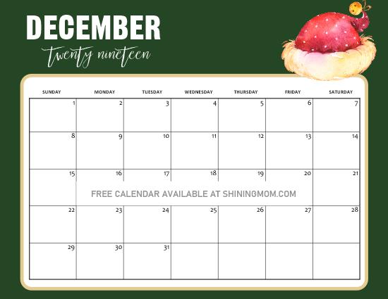 Christmas Calendar free printable