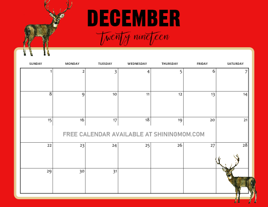 Free Printable December 2020 Calendar Christmas 5 FREE Christmas Themed December Printable Calendar