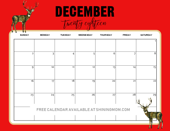 December Xmas 2019 Calendar 5 FREE Christmas Themed December Printable Calendar