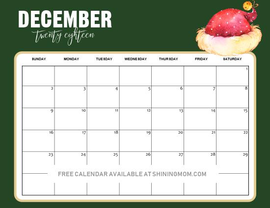 Christmas December 2019 Calendar Printable 5 FREE Christmas Themed December Printable Calendar