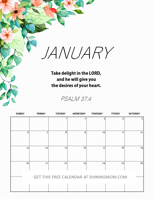 January 2019 calendar with Bible scripture