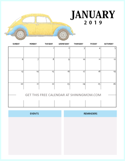 cute January 2019 calendar free printable