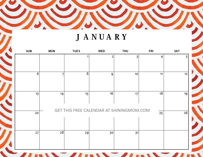 free printable January 2019 calnedar