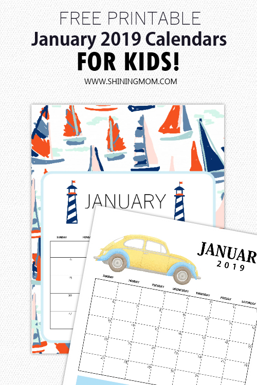 January 2019 calendar for kids