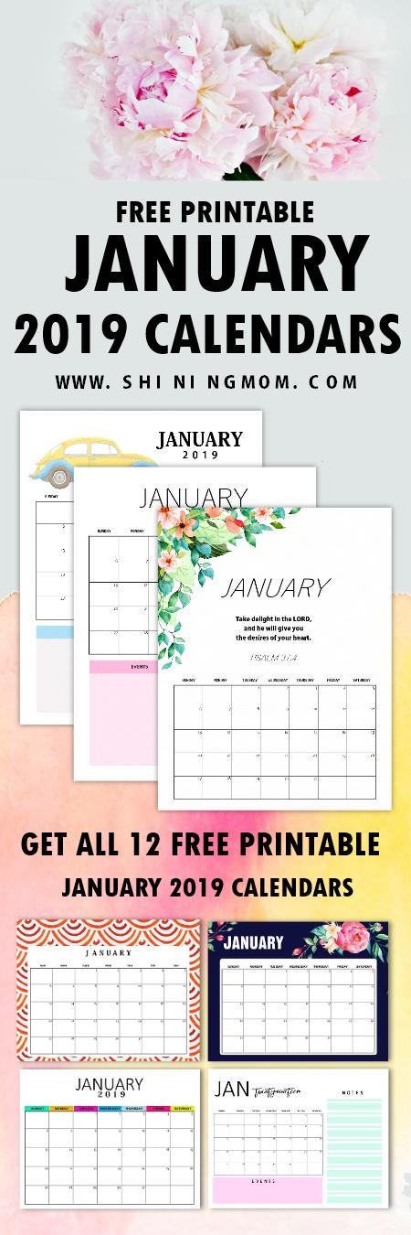 January calendar 2019 printables free