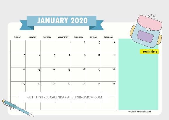 January 2020 school calendar