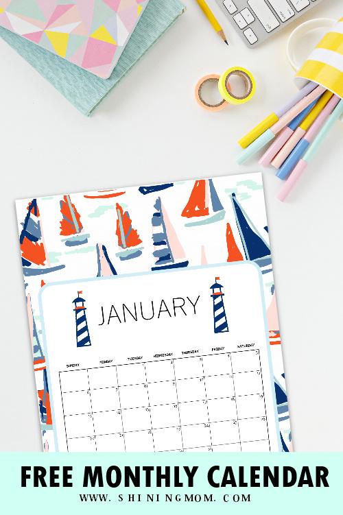 January 2019 calendar cute