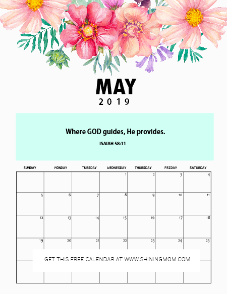 June 2019 desk calendar with Bible verse