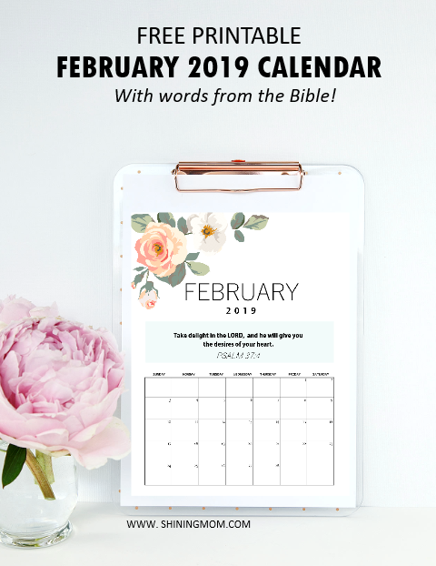 February 2019 calendar with Bible verse