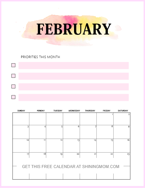 free printable February 2019 calendar with notes