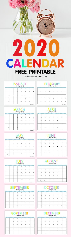 Pretty 2020 Calendar Free Printable 2020 Calendar: So Beautiful & Colorful!