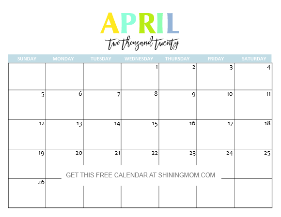 Free Printable April 2020 Calendar Free Printable 2020 Calendar: So Beautiful & Colorful!