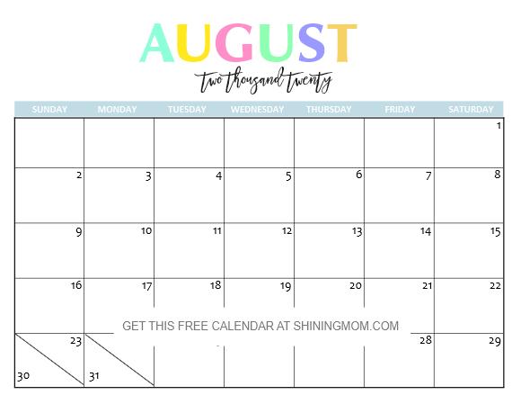 Print August 2020 Calendar Free Printable 2020 Calendar: So Beautiful & Colorful!