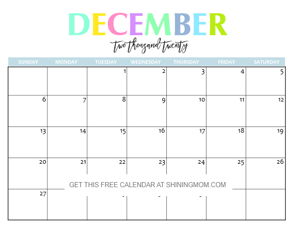 Calendar December 2020.Free Printable 2020 Calendar So Beautiful Colorful
