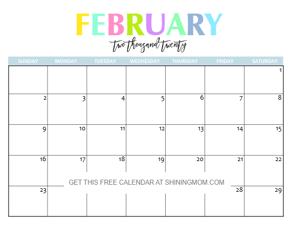 February 2020 Calendar Poretty Free Printable 2020 Calendar: So Beautiful & Colorful!