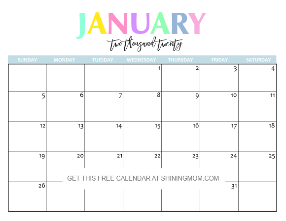 Fill In The Blank Calendar December 2020- January 2020 Free Printable 2020 Calendar: So Beautiful & Colorful!