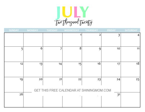July 2020 Calendar Cute Free Printable 2020 Calendar: So Beautiful & Colorful!