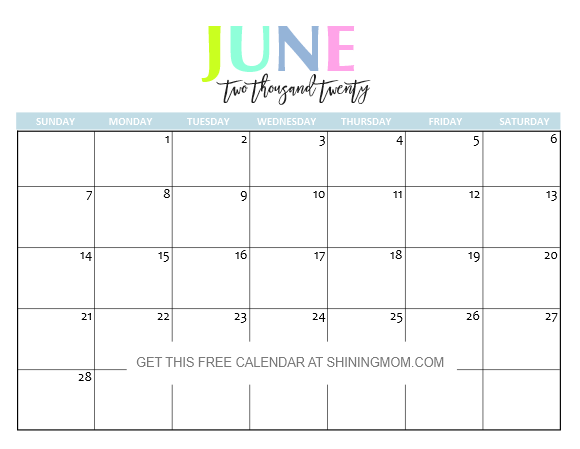 Calendar June 2020.Free Printable 2020 Calendar So Beautiful Colorful