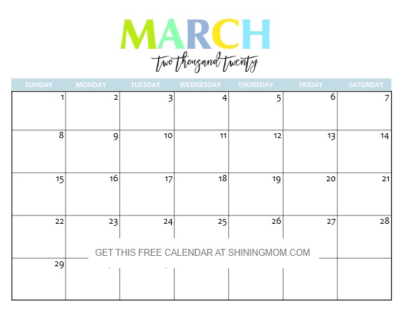 March Printable Calendar 2020.Free Printable 2020 Calendar So Beautiful Colorful