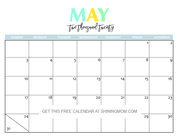 May Printable Calendar 2020.Free Printable 2020 Calendar So Beautiful Colorful