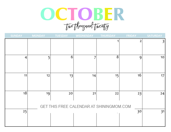 Cute October 2020 Calendar Printable Free Printable 2020 Calendar: So Beautiful & Colorful!